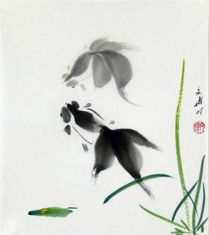 (已售)武文博 小品斗方 国画写意花鸟画 金鱼