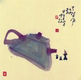 【询价】肖映梅(中国美协)国画花鸟画 小品斗方 茶壶1y