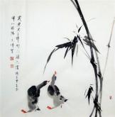 (已售)武文博 四尺斗方 国画写意花鸟画 鸭子 竹子《岁寒君子伴》