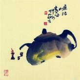 【询价】肖映梅(中国美协)国画花鸟画 小品斗方 茶壶7y
