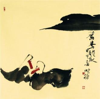 肖映梅(中国美协)国画花鸟画 四尺斗方《鸳鸯戏水》y