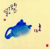 (已售)肖映梅(中国美协)国画花鸟画 小品斗方 茶壶8y