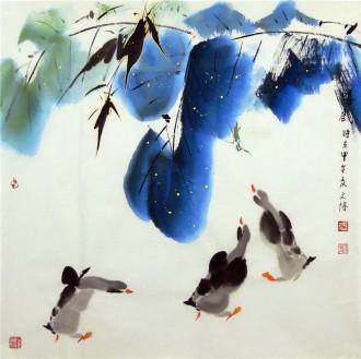 (已售)武文博 四尺斗方 国画写意花鸟画 鸭子《嬉戏》