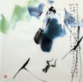 武文博 四尺斗方(询价) 国画写意花鸟画 荷花《明月别枝惊鹊》