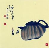 【询价】肖映梅(中国美协)国画花鸟画 小品斗方 茶壶9y
