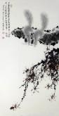 (已售)薛大庸(一级美术师)国画动物松鼠画 三尺竖幅《千寻绝壁欲摩空》