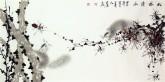 (已售)薛大庸(一级美术师)国画动物松鼠画 三尺横幅《松林清幽》
