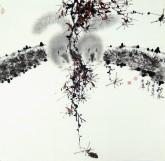 (已售)薛大庸(一级美术师)国画动物松鼠画 四尺斗方《秋风》