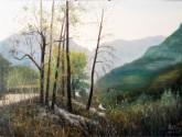 (已售)张立志 布面油画 创作作品60*80cm 路边 山 风景画 村庄