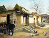 (已售)张立志 布面油画 创作作品150*120cm 毛驴 风景画 村庄