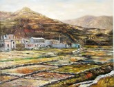 (已售)张立志 布面油画 创作作品60*80cm 村外 风景画 村庄