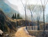 (已售)张立志 布面油画 创作作品60*80cm 小路 风景画 村庄