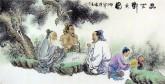 胡得福 国画人物 四尺《品茗对弈图》7