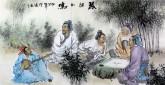 胡得福 国画人物 四尺《琴棋和鸣》9