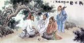 胡得福 国画人物 四尺《听琴图》