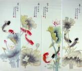 凌雪(中央美院)国画花鸟四条屏荷花鱼《年年有余》2-3