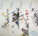(已售)凌雪(中央美院)国画花鸟四条屏《春夏秋冬》