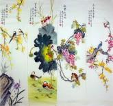 凌雪(中央美院)国画花鸟四条屏《春夏秋冬》