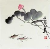 石泉 国画花鸟画小品 小尺寸斗方4-43荷花鱼