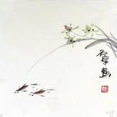 石泉 国画花鸟画小品 小尺寸斗方4-39兰花鱼