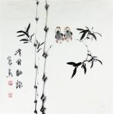 石泉 国画写意花鸟画 三尺斗竹子《清风细雨》4-11