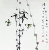 石泉 国画写意花鸟画 三尺斗竹子《清风》4-13