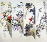 (已售)凌雪(中央美院)国画花鸟四条屏2-2