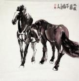 (已售)杨子健(中国美协会员、河南美协理事) 国画动物画《双骏图》四尺斗方双骏马