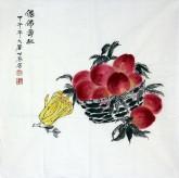 (已售)李世苓(中国美协会员)国画花鸟画《仙佛寿桃》四尺斗方寿桃