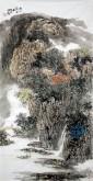 杨品国(陕西省美协)国画山水画 四尺竖幅《秋山访友图》