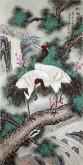 (已售)凌雪 四尺竖幅国画花鸟《松鹤延年》祝寿