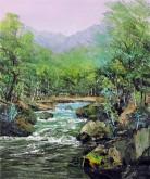 (已售)刘倩 布面油画 创作作品《小溪》50*60cm 风景画