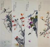 凌雪 国画写意花鸟画四条屏《春夏秋冬》