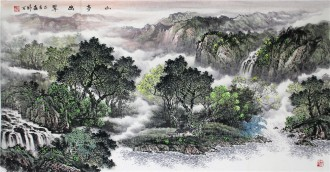 (已售)华卧石 国画山水画 四尺横幅《山亭幽翠》