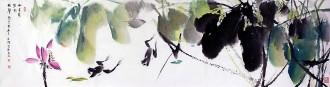 (已售)武文博 四尺对开 国画写意花鸟画 荷花青蛙《十里荷塘听蛙声》