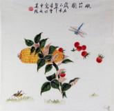 凌雪(中央美院)国画三尺斗方 写意工笔花鸟画 玉米《收获图》3-31
