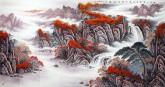 华卧石 国画山水画 大八尺《舟行十里画屏上 身在四山红雨中》