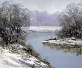 刘倩 布面油画 创作作品50*60cm 风景画 冬