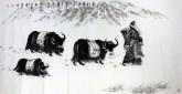 刘文清(中国美协会员、浙江传媒大学教授)四尺横幅 国画人物画《春到藏南》