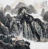 (已售)张洪春(天津美协)国画山水画 四尺斗方《观溪山》