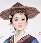 (已售)张元明 国画工笔人物画 《女子》小品34*37