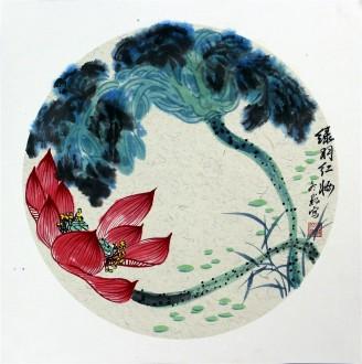 牟冬巍(北京美协)国画花鸟画 小品扇面《绿羽红妆》荷花