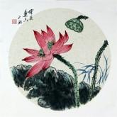 牟冬巍(北京美协)国画花鸟画 小品扇面《风送莲香》荷花