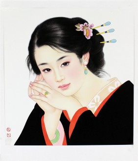 【询价】张元明 国画工笔人物画 《女子》小品34*37