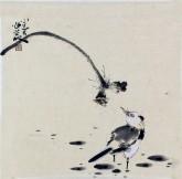 李大庆(中国美协会员)国画花鸟画 精品小尺寸,荷花雀鸟1
