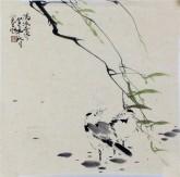 李大庆 国画花鸟画 精品小尺寸《清凉世界》柳枝雀鸟
