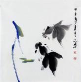 (已售)武文博 小品斗方 国画写意花鸟画 金鱼16