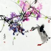 (已售)武文博 小品斗方 国画写意花鸟画 紫藤 鸭子5