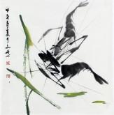 (已售)武文博 小品斗方 国画写意花鸟画 虾12