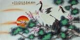 凌雪 四尺横幅 国画工笔花鸟画《松鹤延年》7-11